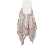 Woman Crocheted Lace And Poplin-trimmed Striped Cotton-blend Gauze Dress White