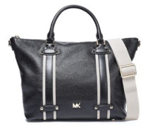 Woman Grosgrain-trimmed Pebbled-leather Tote Black