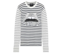 Mia Sequin-embellished Striped Cotton Sweater Navy