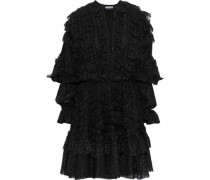 Lace-up Ruffle-trimmed Metallic Fil Coupé Chiffon Mini Dress Black