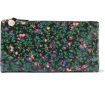 Suede-trimmed Floral-print Leather Pouch Black Size --
