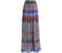 Gathered printed silk-chiffon maxi skirt