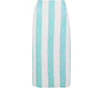 Woman Sequined Striped Chiffon Midi Pencil Skirt Mint