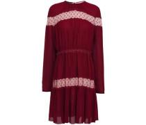 Woman Point D'esprit-paneled Gathered Crepe Mini Dress Claret