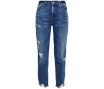 Cropped distressed high-rise straight-leg jeans