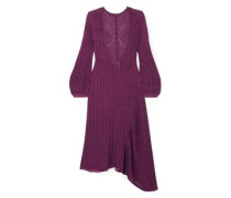 Woman Ribbed Cotton-blend Midi Dress Violet