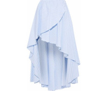 Adelle Asymmetric Striped Cotton-poplin Skirt Light Blue