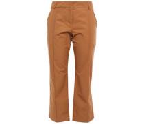 Woman Cropped Cotton Bootcut Pants Light Brown