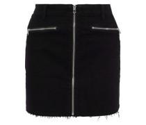Woman Moto Zip-detailed Denim Mini Skirt Black
