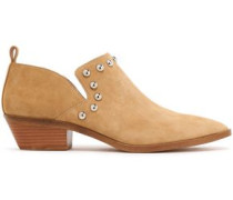Studded Suede Ankle Boots Sand