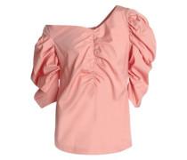 One-shoulder ruched cotton-poplin top