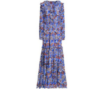 Ruffle-trimmed silk-crepe de chine maxi dress