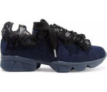 Ariana ruffled lace-trimmed denim sneakers