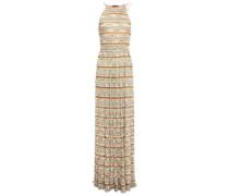 Metallic Crochet-knit Halterneck Maxi Dress Neutral