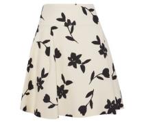 Pleated Intarsia Wool-twill Mini Skirt Cream