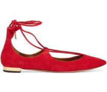 Christy lace-up suede point-toe flats