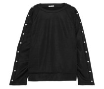 Button-detailed French terry sweatshirt