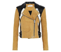 Leather and suede biker jacket