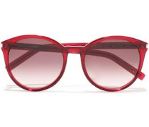 Woman Round-frame Acetate Sunglasses Crimson