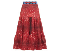 Tiered Printed Cotton-blend Midi Skirt