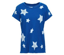 Distressed Printed Cotton-jersey T-shirt Cobalt Blue Size 0