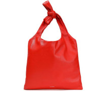 Woman Knotted Leather Tote Tomato Red