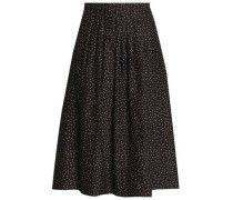 Pleated polka-dot cotton and silk-blend skirt