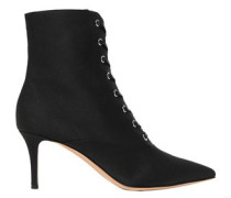 Lace-up Grosgrain Ankle Boots Black