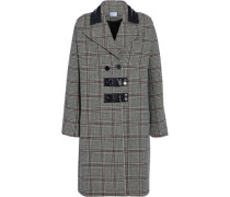 Leather-trimmed Checked Wool-blend Coat Gray