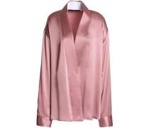 Crossover silk-satin jacket