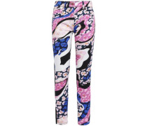 Paneled Embroidered Printed High-rise Skinny Jeans Pink