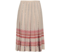 Woman Pleated Bead-embellished Checked Wool Skirt Neutral