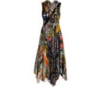 Crossover ruffled floral-print velvet gown