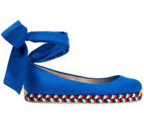 Woman Lace-up Metallic Woven-trimmed Gabardine Espadrilles Royal Blue