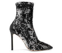 Woman Ricky 100 Leather-trimmed Sequined Stretch-knit Sock Boots Black