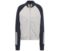 Two-tone Printed French Cotton-blend Terry Track Jacket Light Gray