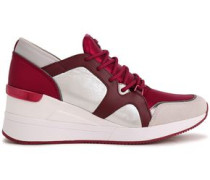 Woman Liv Suede-trimmed Metallic Jersey, Textured And Smooth-leather Sneakers Claret