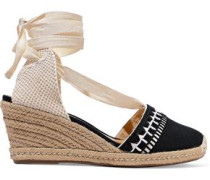 Woven And Embroidered Canvas Wedge Espadrilles Black