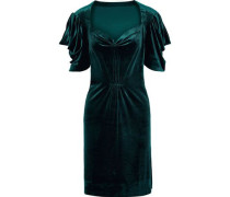 Pleated Stretch-velvet Mini Dress Emerald