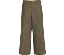 Cropped linen-blend wide-leg pants