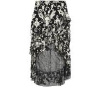Sasha asymmeric ruffled devoré-velvet skirt