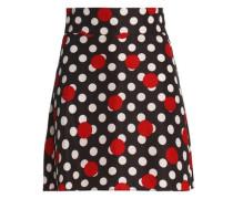 Polka-dot crepe mini skirt