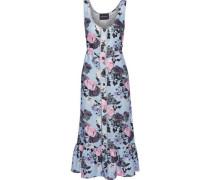 Fluted Floral-print Linen Midi Dress Sky Blue