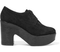 Voel Lizard-effect Leather And Suede Platform Brogues Black