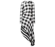 Woman Asymmetric Cutout Gingham Crepe Midi Dress Black