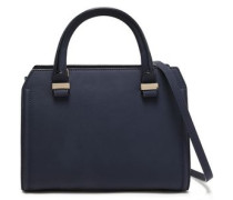 Woman Two-tone Textured-leather Shoulder Bag Navy