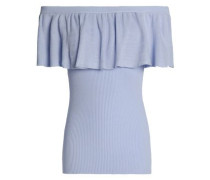 Off-the-shoulder ruffled ribbed cotton top