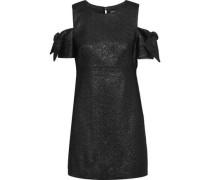 Mod Cold-shoulder Glittered Cady Mini Dress Black