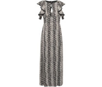Ruffled Snake-print Satin Maxi Dress Charcoal