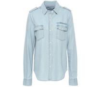 Embroidered Cotton-blend Chambray Shirt Light Denim